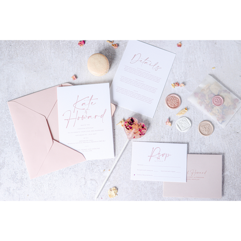 Blush Pink Stationery Flat Lay with Lollipops. Stationery from Emma Paper Doll, Lollipops from Emily's Lollies, Photography by Camille Dizy Photography