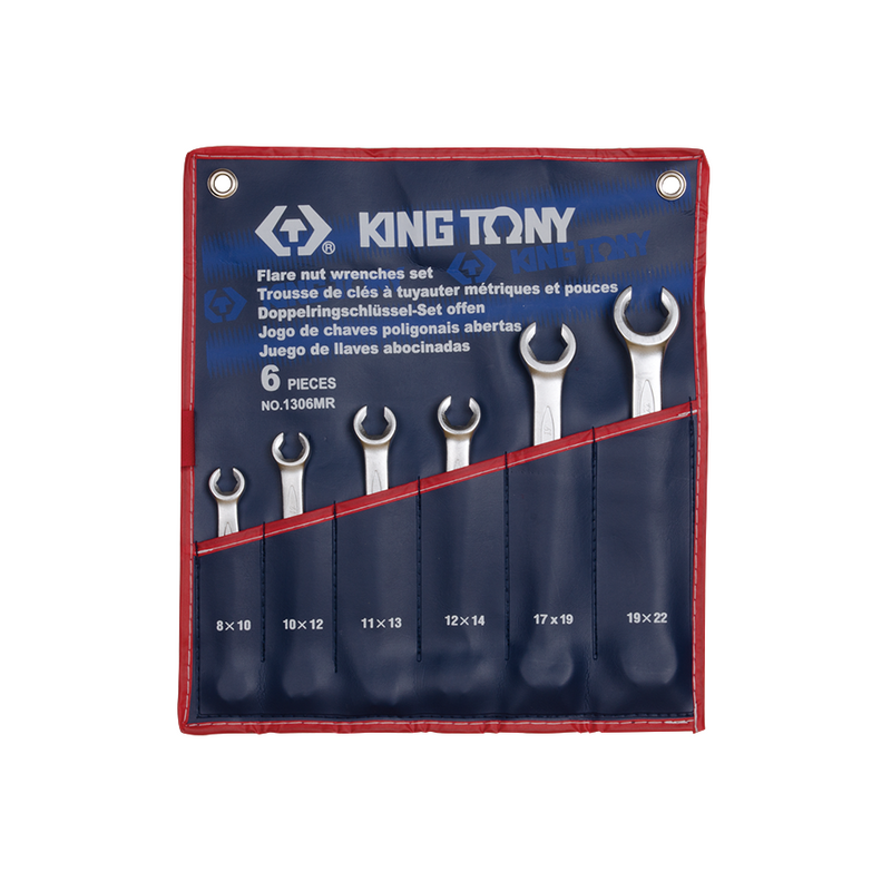 King Tony Flare Nut Spanner Set 6PC 8-22mm
