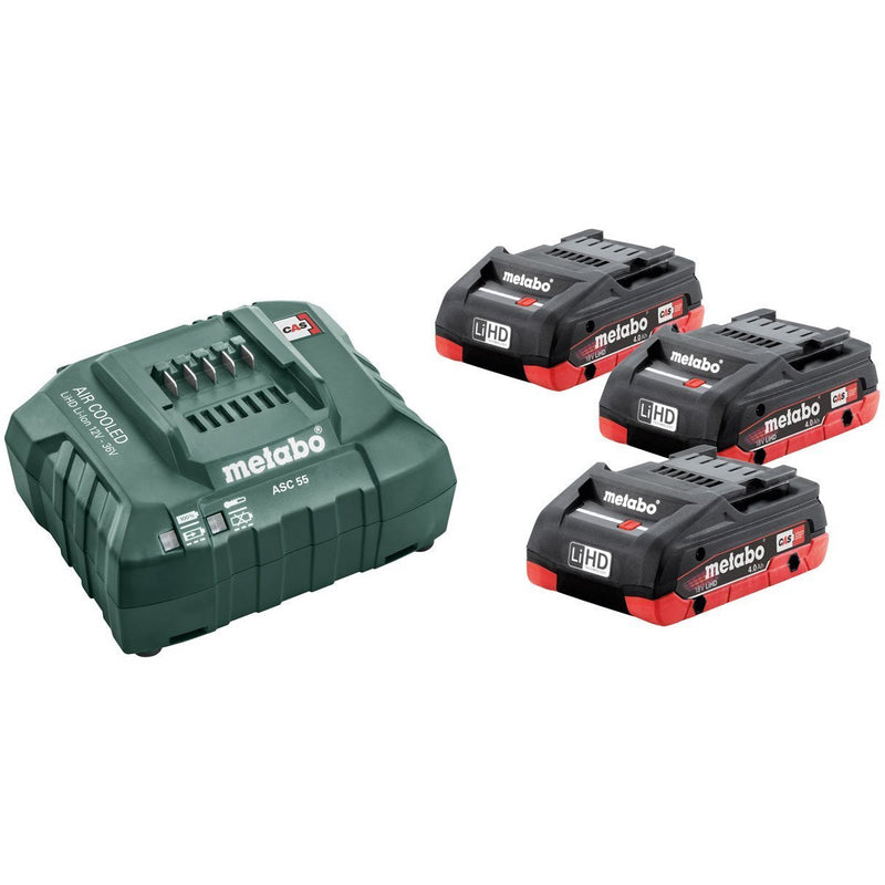 Metabo Basic - Set 3 X LIHD 4.0Ah, ASC 55 Charger