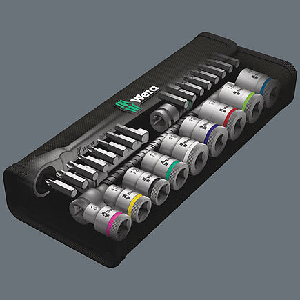 "Wera 8100 SB 8 Zyklop Metal Ratchet Set with switch lever 3/8"" drive - metric 29 pieces 