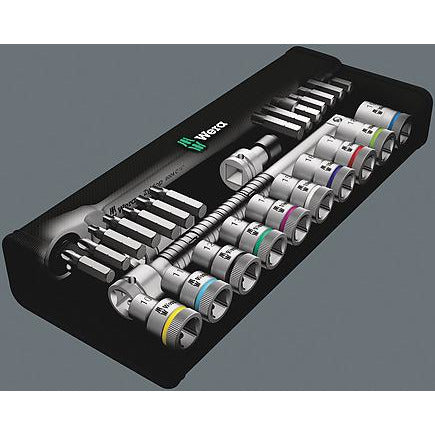 "Wera 8100 SC 8 Zyklop Metal Ratchet Set with switch lever 1/2"" drive - metric 28 pieces 