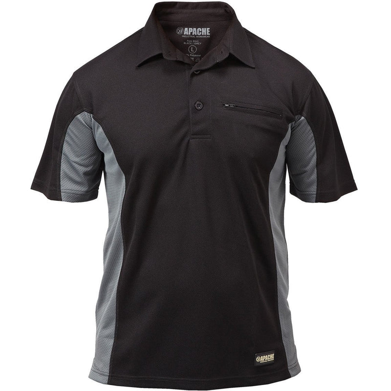 APACHE DRY MAX POLO SHIRT GREY BLACK AT TED JOHNSONS