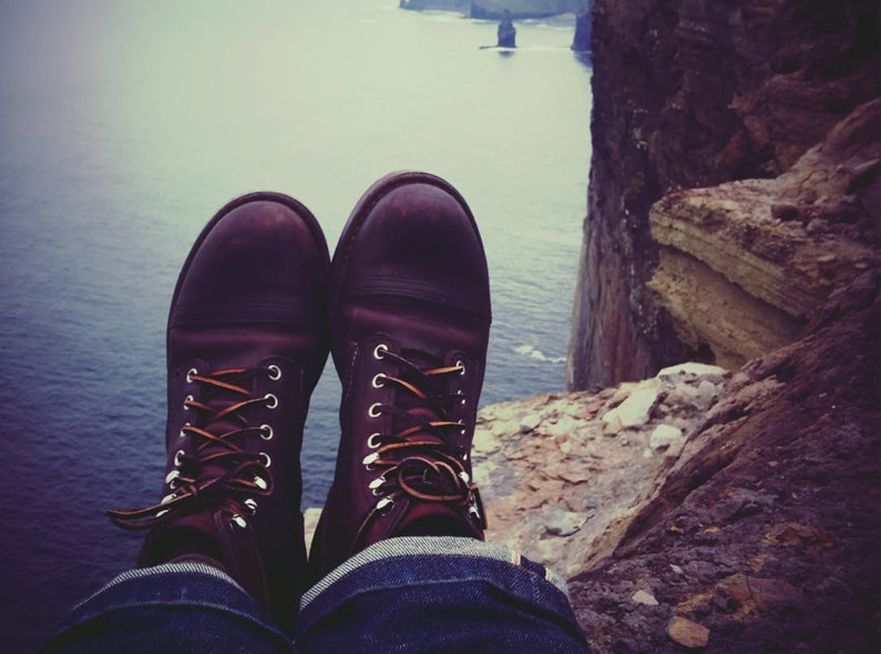 Edgar his Red Wing Iron Rangers in the Moher Cliffs, Ireland
