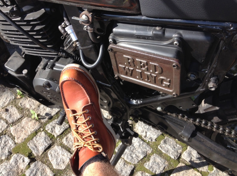 Nuno his Red Wing Shoes 875 Moc Toe's and Honda Dominator motorcycle