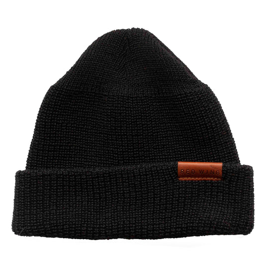 Merino Wool Knit Cap Beanie - Black