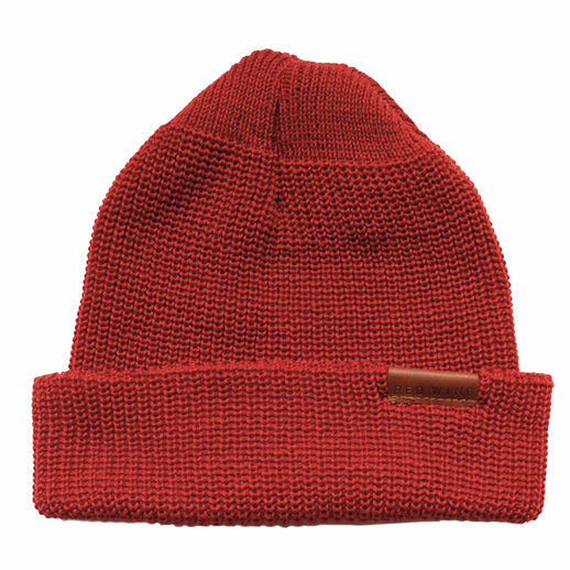 Merino Wool Knit Cap Beanie – Red
