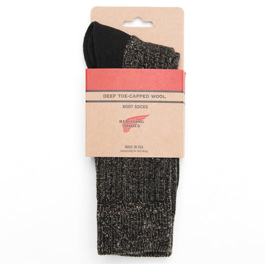 Deep Toe Capped Wool Sock - Black