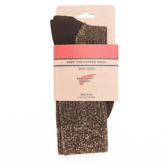 Deep Toe Capped Wool Sock - Brown