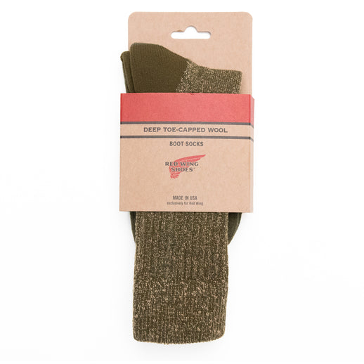Deep Toe Capped Wool Sock - Green