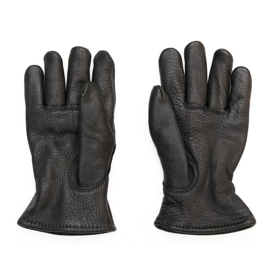 Lined Gloves in Black Buckskin Leather