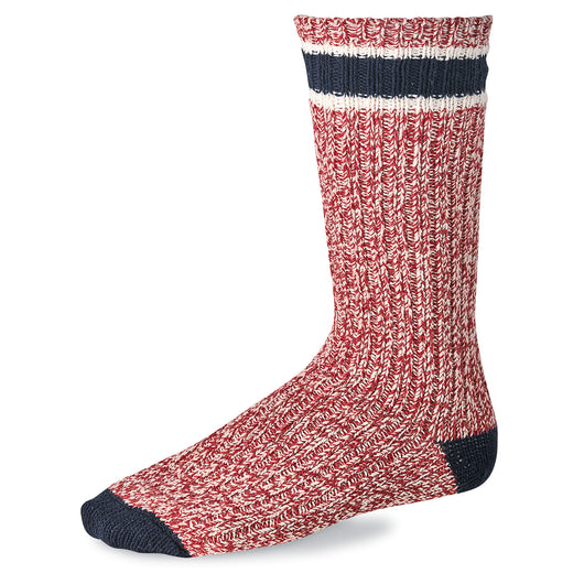 Striped Wool Ragg Crew Socks - Red / Navy