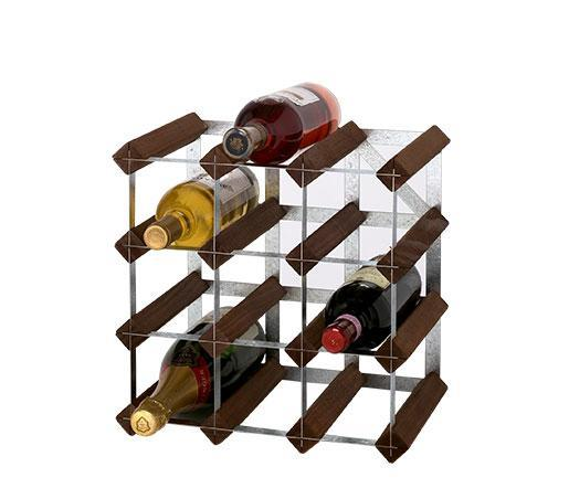 12 Bottle Wine Rack 3X3 Dark Pine/Galvanised Steel Kit