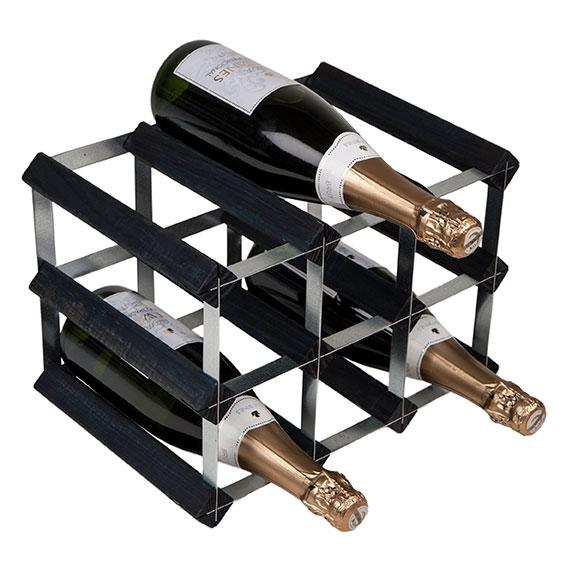 9 Bottle Wine Rack 3X2 Black Ash Pine/Galvanised Steel Kit