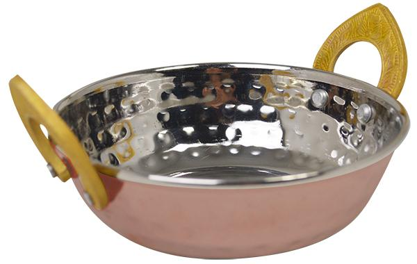 Copper Plated Kadai Dish With Brass Handles- 13cm