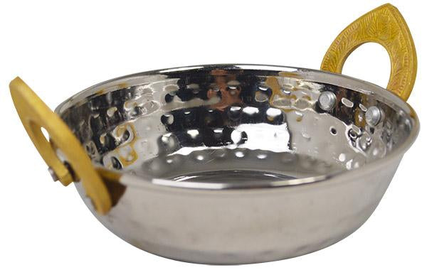 Stainless Steel Kadai Dish With Brass Handles- 13cm