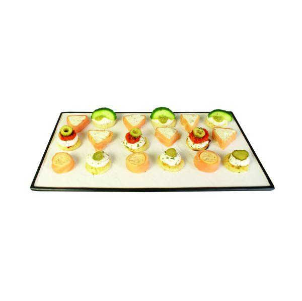 Contra Rectangular Platter White With Black Trim 14in