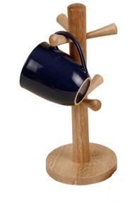 Naturals Rubberwood  Mug Tree- Holds 6 Mugs