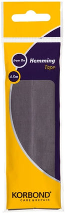 Korbond Grey Tape 4.5m x 2cm, Bonding and Craft Projects – NO Sewing Required – Ideal, Jeans, Work Trousers, Badges & School Clothes – Repair and Hem in Seconds