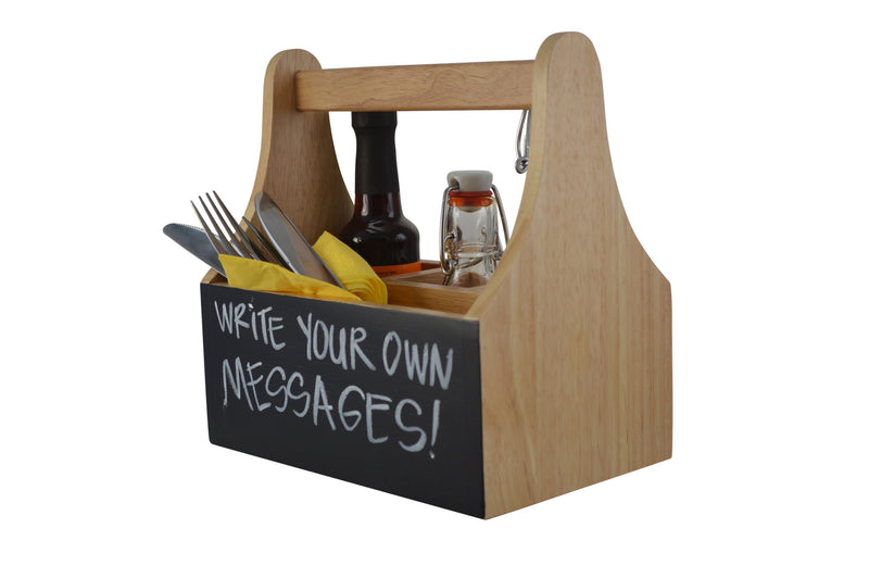 Naturals Caddy With Chalkboard-4 Compartments