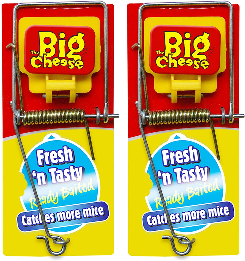 The Big Cheese Fresh Baited Mouse Trap, Pre-Baited, Reusable, Twin Pack, Red, 40.8 g