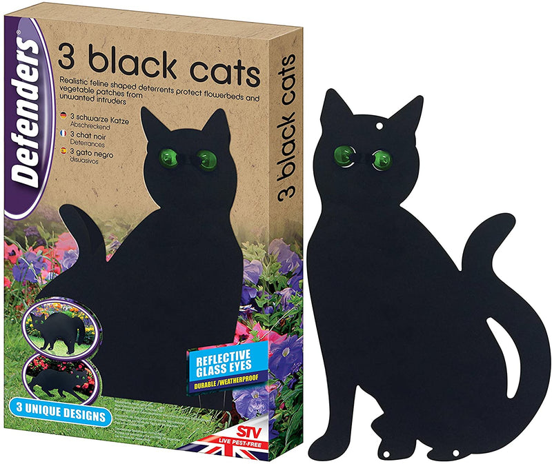 Defenders Three Black Cats Decorative Deterrents, Cat Garden Repeller, Black
