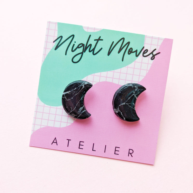 Black Howlite Crescent Moon Studs