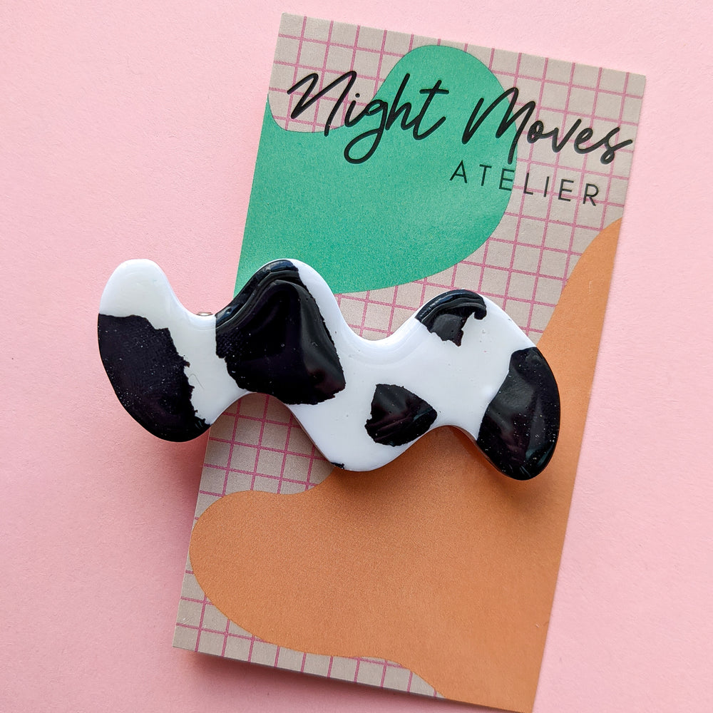 Cow Print Squiggle Babe Hair Barrette