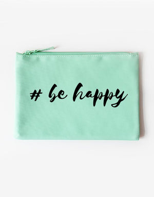 Kosmetiktasche - be happy -mint schwarz