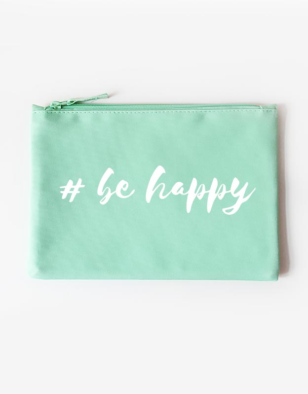 Kosmetiktasche - be happy -mint weiß