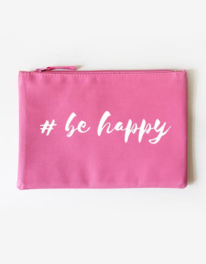 Kosmetiktasche - be happy -pink weiß