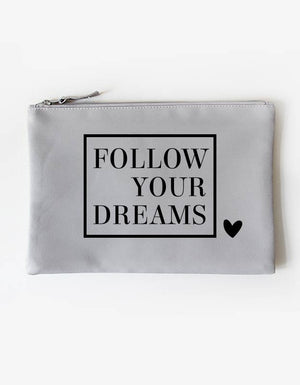 Kosmetiktasche - follow your dreams - grau