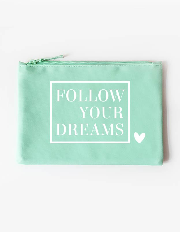 tasche - follow your dreams -mint weiß