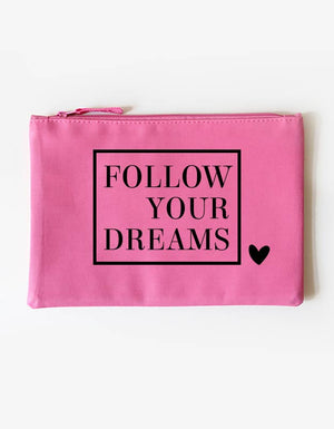 Kosmetiktasche - follow your dreams - pink-schwarz