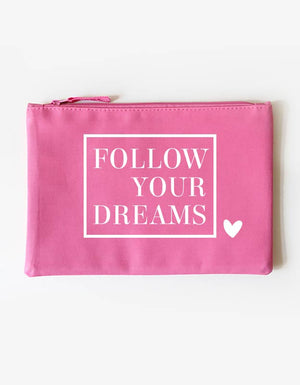 Kosmetiktasche - follow your dreams - pink-weiß