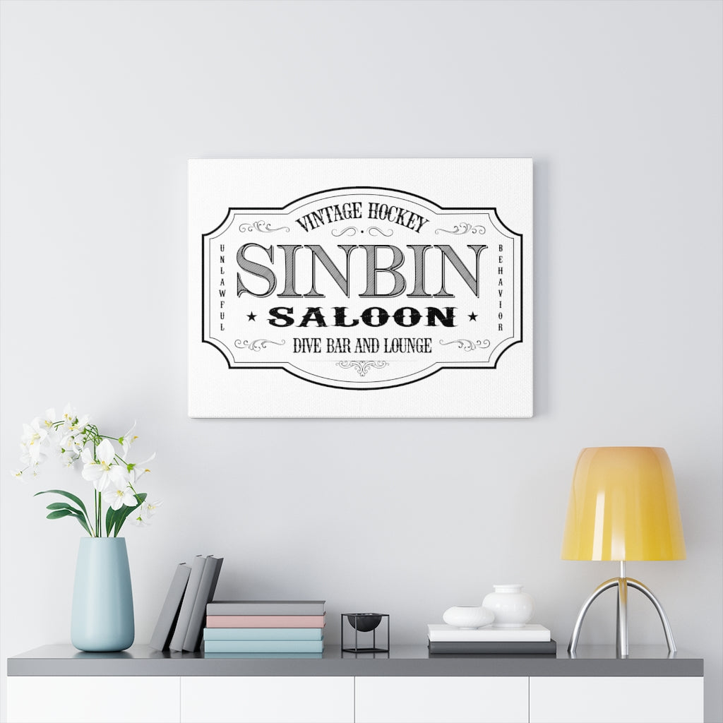 SIN BIN SALOON WHITE WALL CANVAS