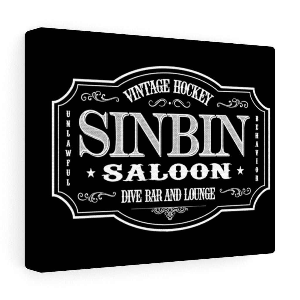 SIN BIN SALOON BLACK WALL CANVAS