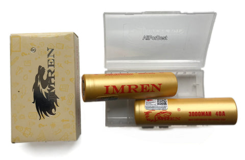 2 Gold IMREN High Drain 3000mAh, 3.7V 20A/40A, Flat Top, 18650 Rechargeable Battery