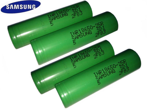 4 100% Authentic Samsung 25R 2500mAh 3.7V High Drain Flat Top 18650 Battery