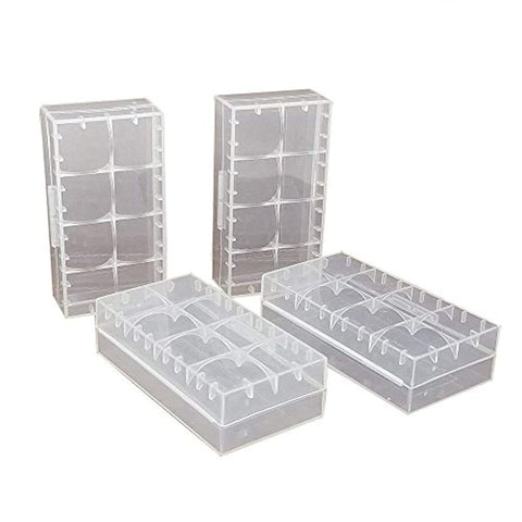 4 pcs Clear Color Battery Storage Case Holder Organizer for 18650,SACKORANGE Battery Storage Case for 18650 or CR123A Battery