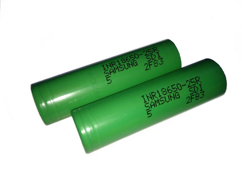 2 100% Authentic Samsung 25R 2500mAh 3.7V High Drain Flat Top 18650 Battery