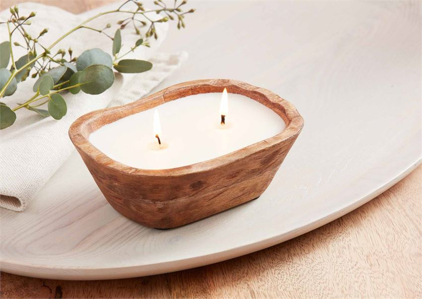 Wood Bowl Candle Small