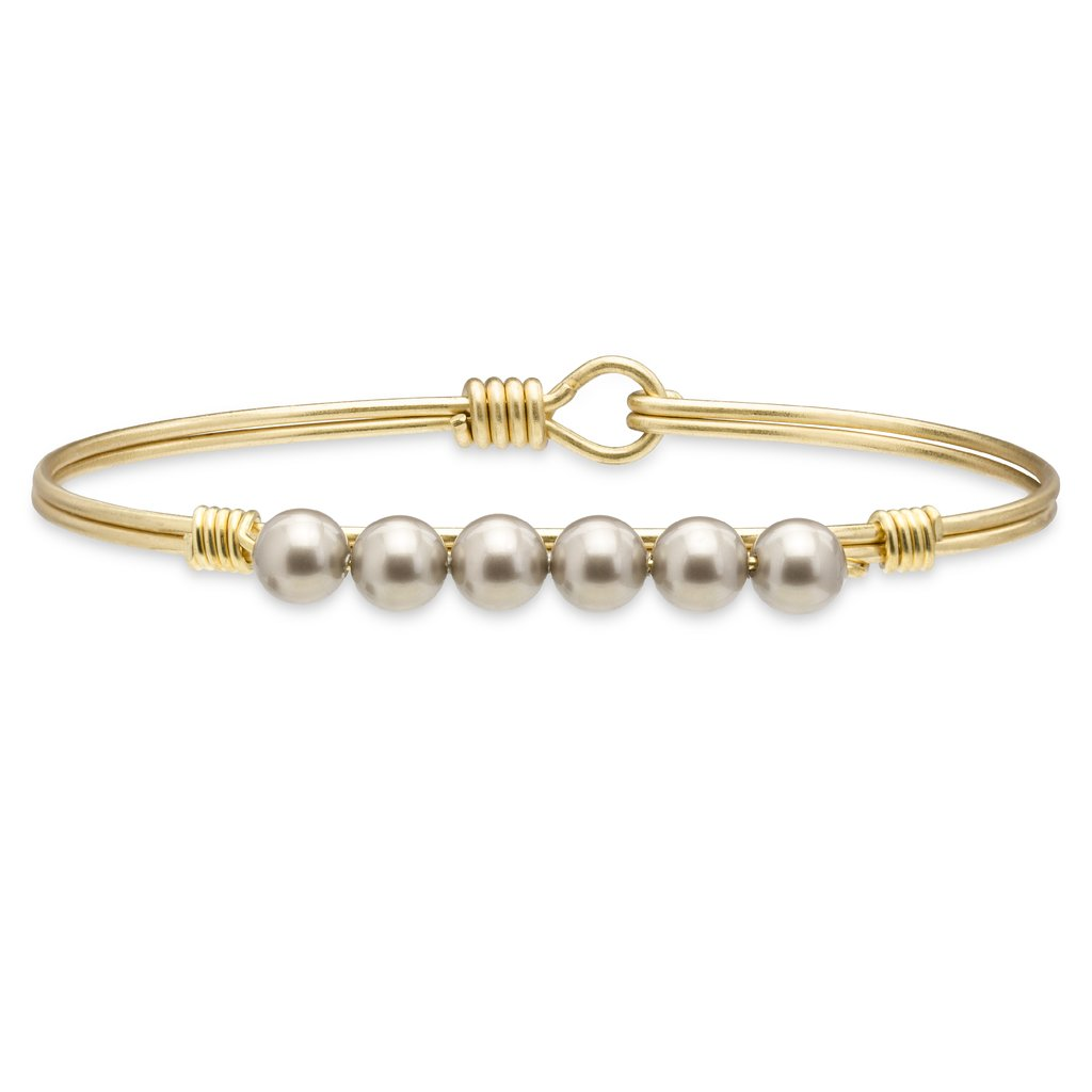 Crystal Pearl Bangle Bracelet In Platinum STC272 - Simply Susan's