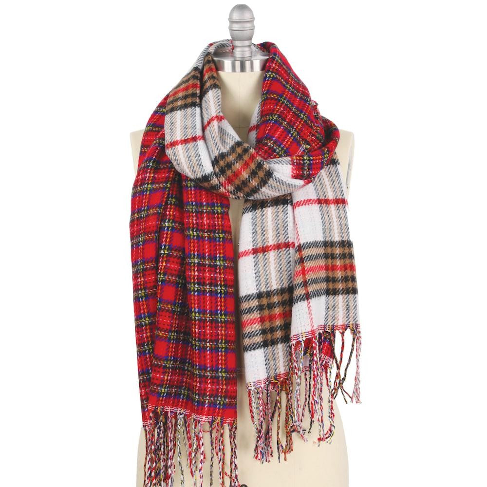 Double Plaid Mix Oblong Scarf