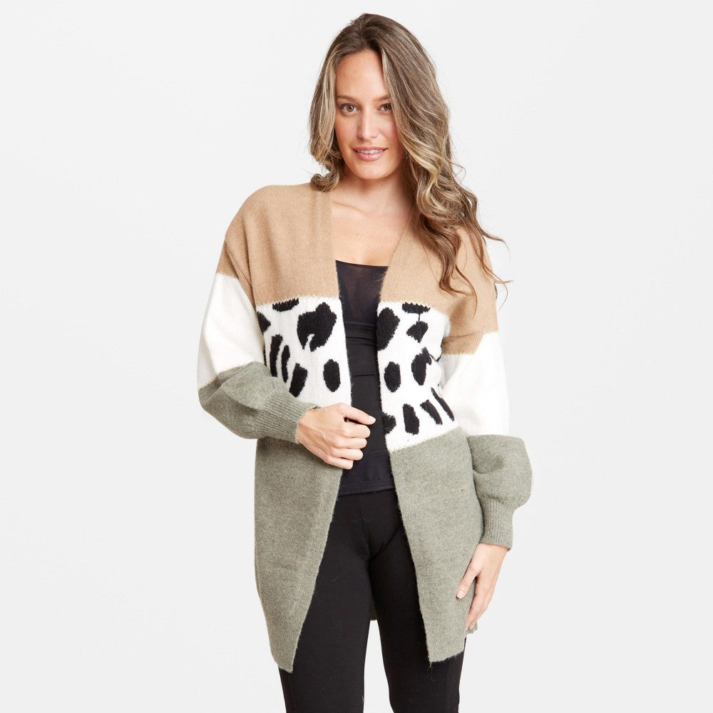 Women's Colorblock Animal Print Cardigan Olive