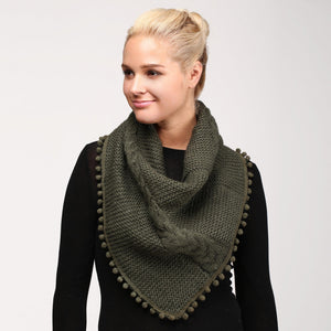 Cable Knit Scarf Olive