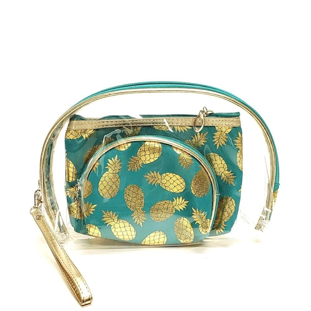 Metallic pineapple clear 3pc travel pouch set TEAL