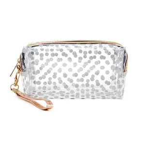 CLEAR POLKA DOT TRAVEL POUCH SILVER