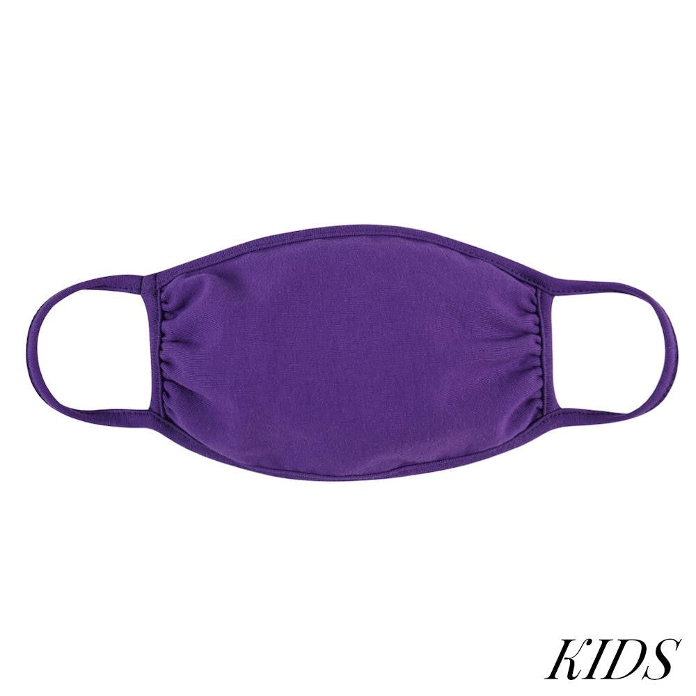 KIDS Reusable Solid Color T-Shirt Cloth Face Mask PURPLE