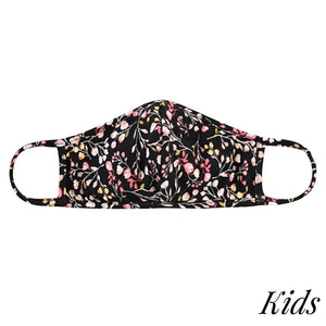 KIDS Reusable Solid Color T-Shirt Cloth Face Mask BLACK FLORAL