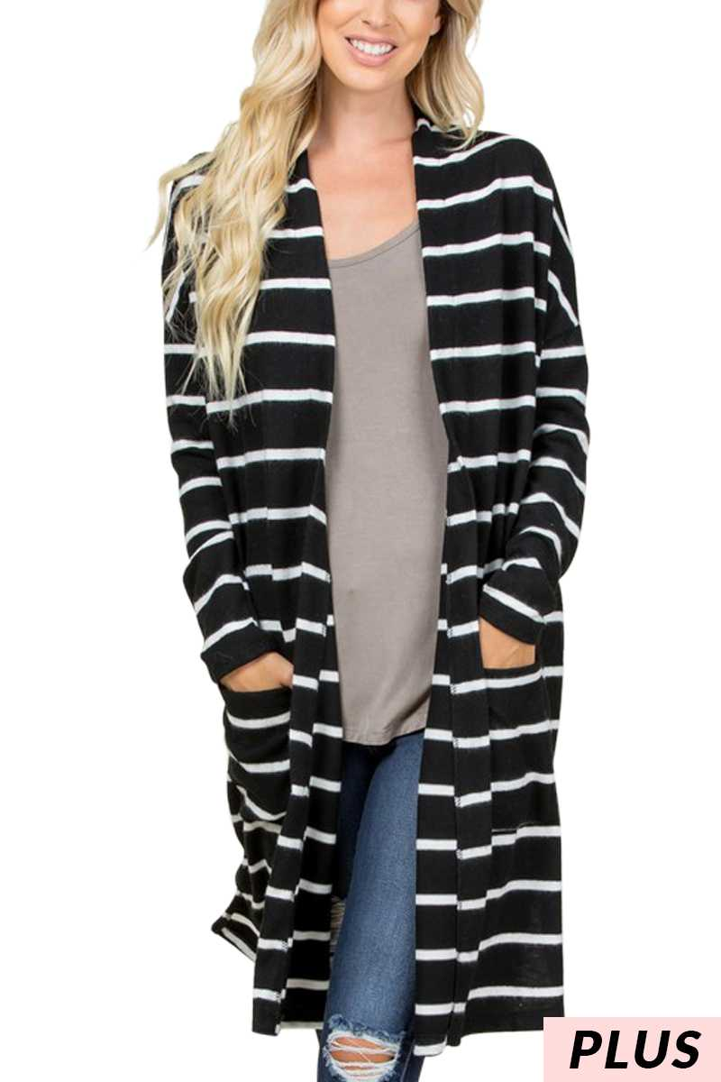HEATHER STRIPED CARDIGAN PLUS